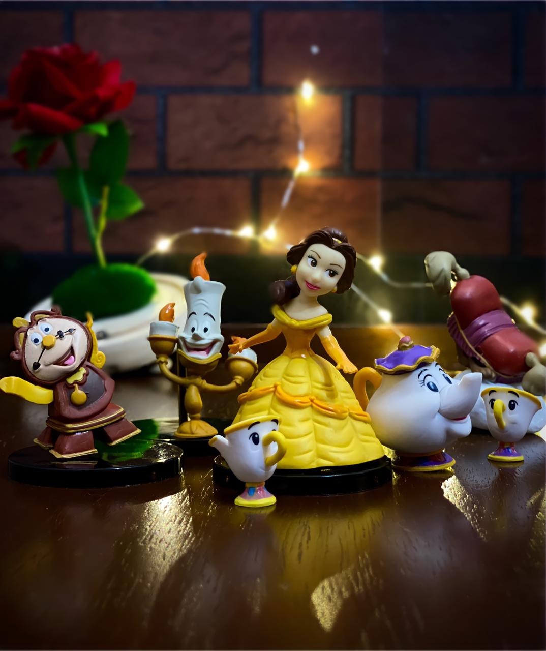 Kit Com 5 Miniaturas Colecionáveis A Bela e a Fera Beauty And The Beast - Disney - 8cm