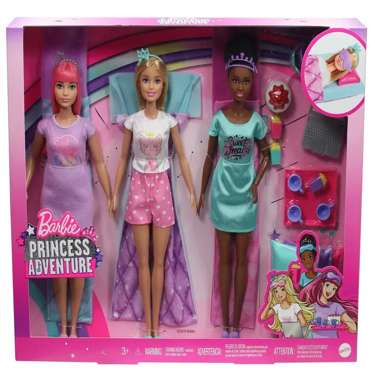 Kit Com Três Bonecas Barbie: Barbie Princess Adventure - Mattel
