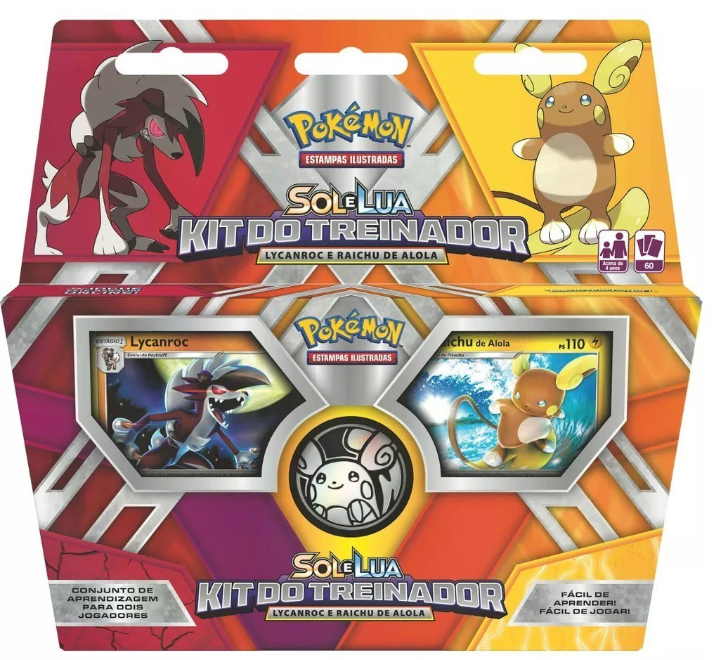 Kit do Treinador Pokemon: Lycanroc e Raichu de Alola - Copag