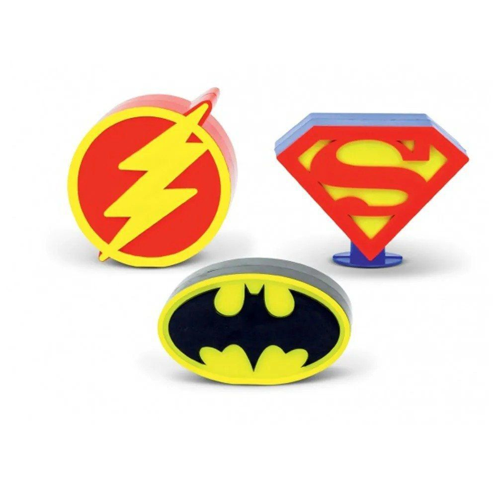 Kit Logos Heróis DC Batman - Superman - Flash - Set com 3 - DTC