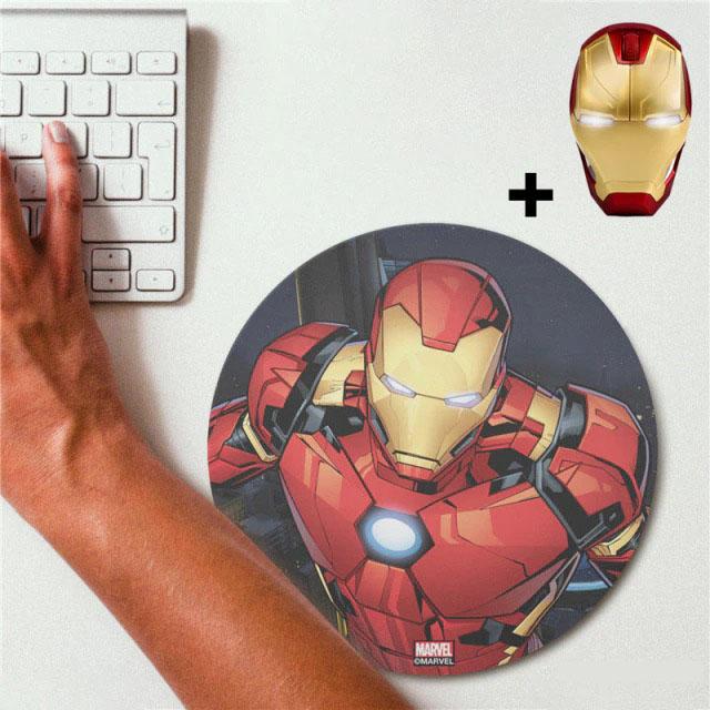 Kit Mousepad (Mouse Pad) e Mouse Sem Fio Homem de Ferro Iron Man Marvel Comics - EVALI