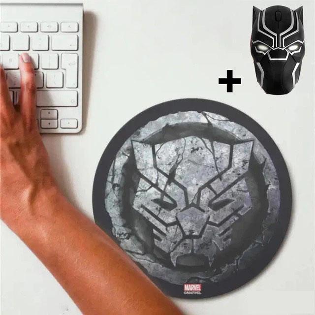 Kit Mousepad (Mouse Pad) e Mouse Sem Fio Pantera Negra Black Panther Marvel Comics - EVALI