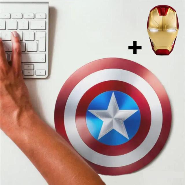 Kit Mousepad (Mouse Pad) Escudo Capitão América e Mouse Sem Fio Homem de Ferro Iron Man Marvel Comics - EVALI