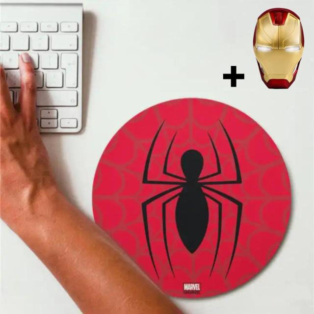 Kit Mousepad (Mouse Pad) Homem Aranha Spider-Man e Mouse Sem Fio Homem de Ferro Iron Man Marvel Comics - EVALI