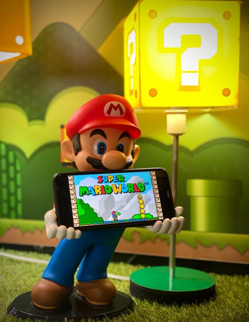 Kit Suporte Para Celular/Nintendo 3DS e Luminária Abajur Interrogação  Mario: Super Mario Bros