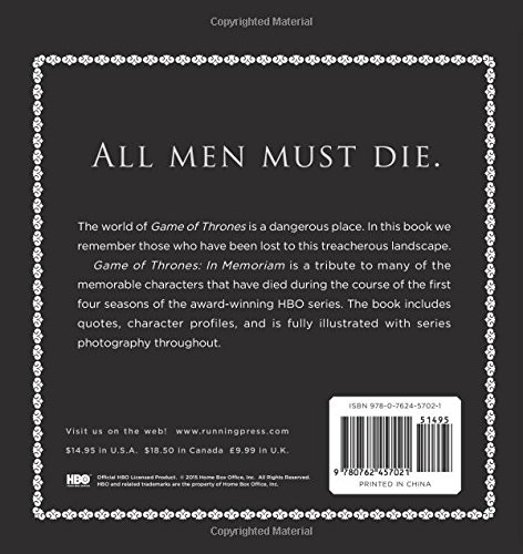 Livro In Memoriam: Game of Thrones Tribute to the Fallen - Running Press