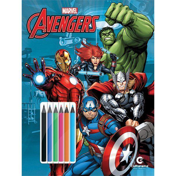 Livro Ler e Colorir com Lápis de Cor Vingadores: Marvel