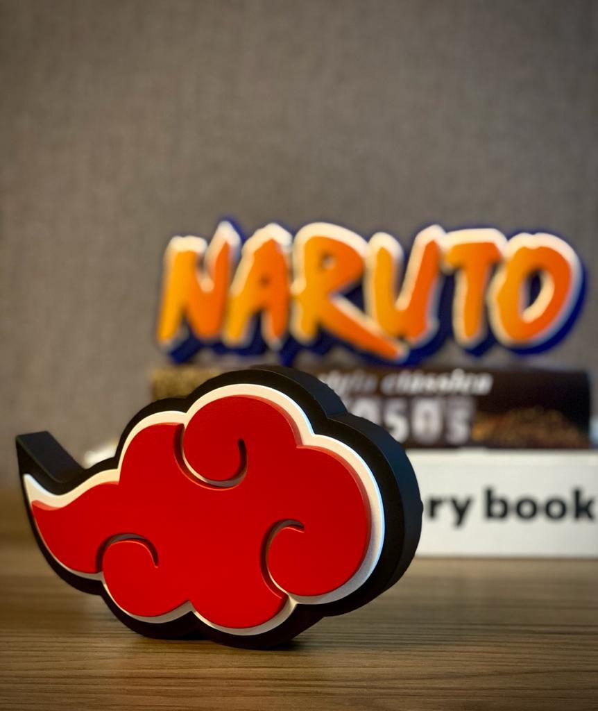 Logo 3D Símbolo Nuvem Akatsuki: Naruto