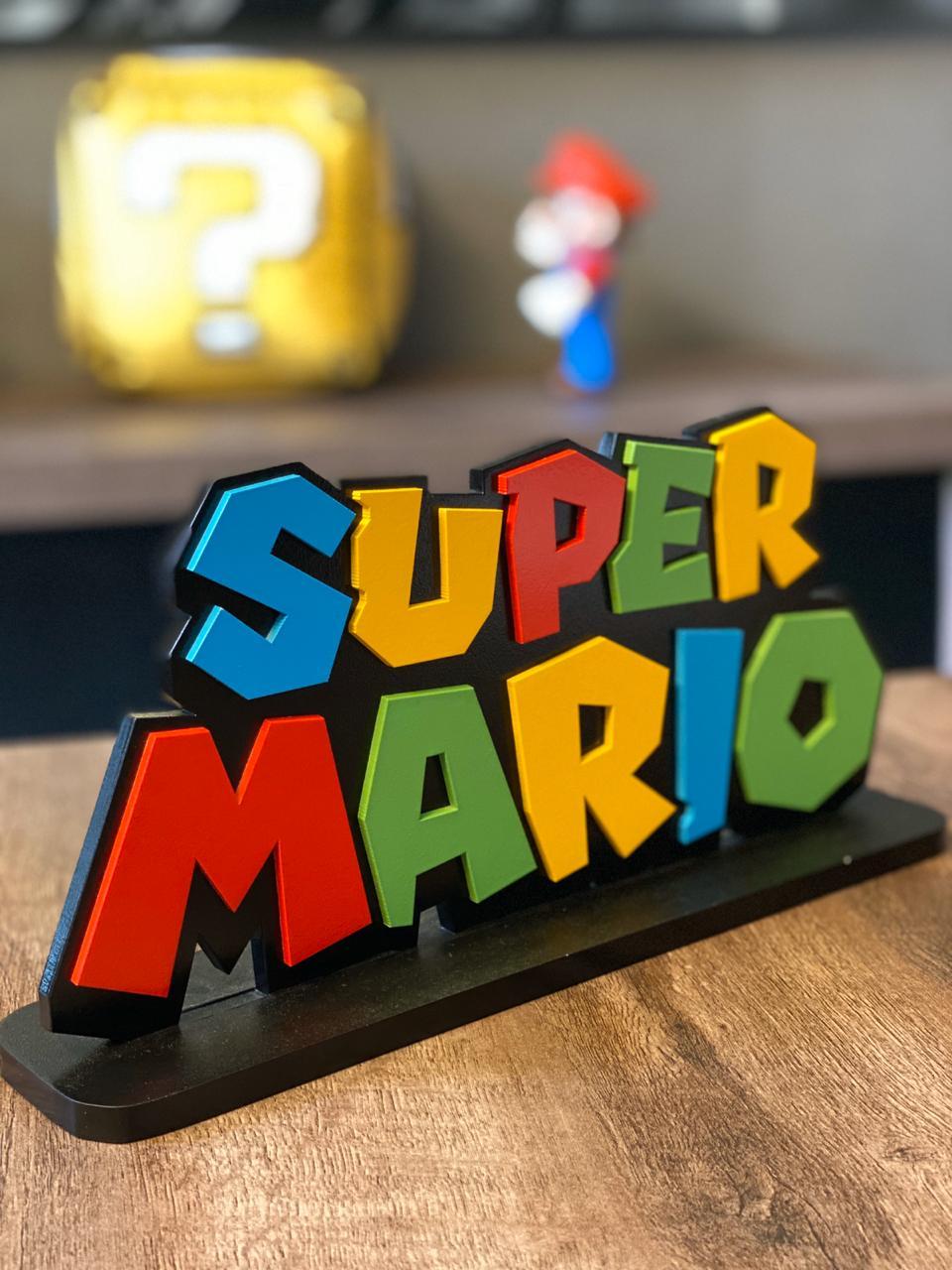 Logo Com Base 3D Super Mario Grande - EV
