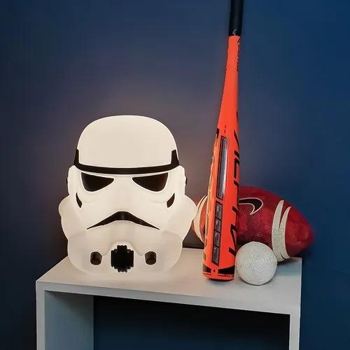 Luminária/Abajur 3D Capacete Storm Trooper Star Wars