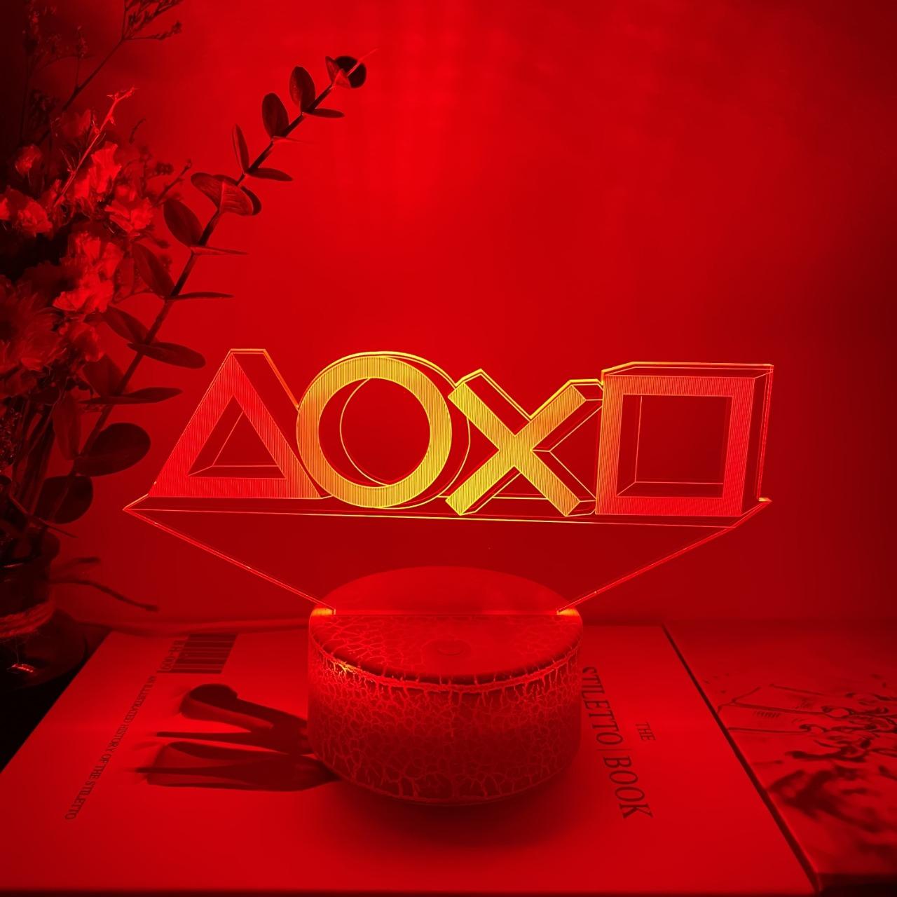 Luminária/Abajur Botões Playstation Base Lava 16 Cores com Controle - EVALI