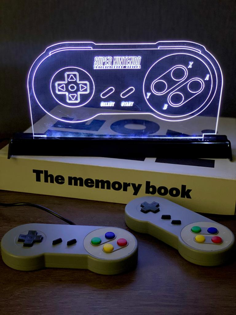 Luminária/Abajur Controle Super Nintendo (SNES)
