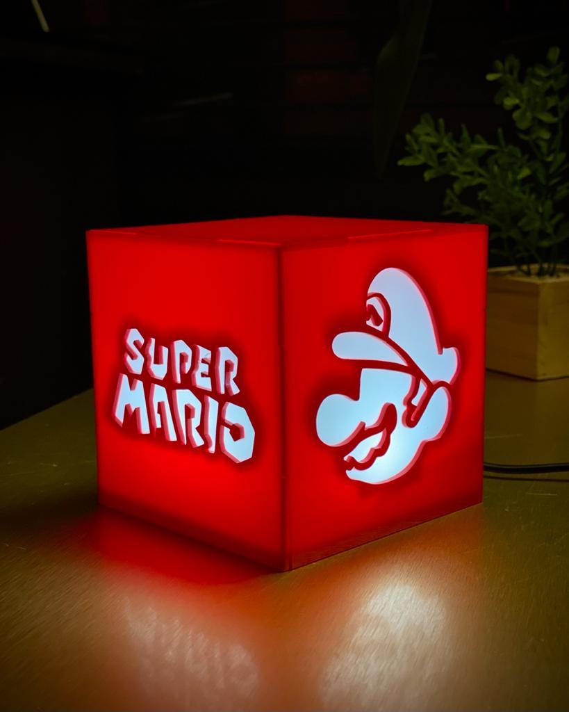 Luminária/Abajur De Mesa Cubo Super Mario: Mario Bros. - EV
