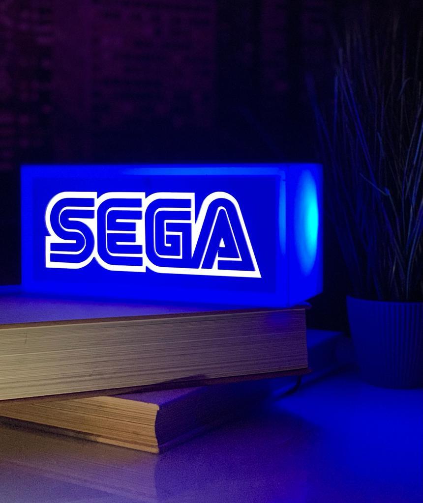 Luminária/Abajur Decorativa 3D Logo Sega: Sega Corporation - EV