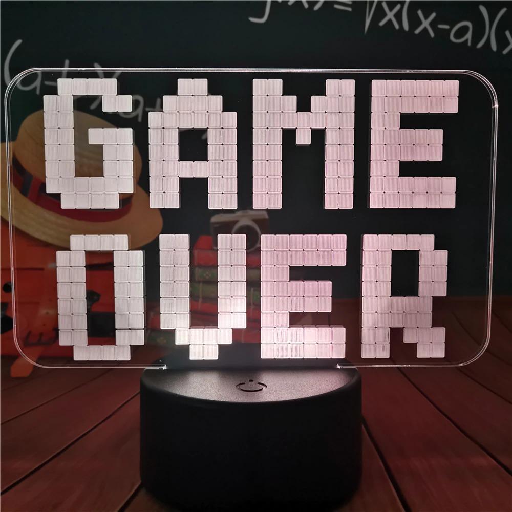 Luminária/Abajur Game Over 16 Cores com Controle - EVALI - Games Jogos