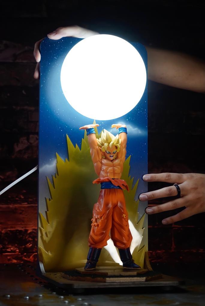 Luminária/Abajur Geek Goku Super Sayajin 2: Drago Ball Z Anime Mangá