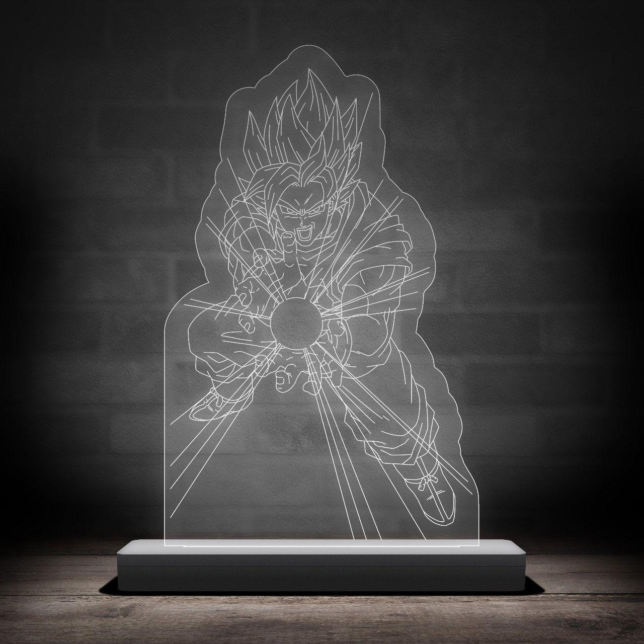Luminária/Abajur Goku Kamehameha: Dragon Ball - EV