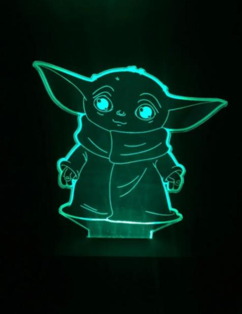 Luminária/Abajur Led Grogu (Baby Yoda): The Mandalorian Star Wars - EV