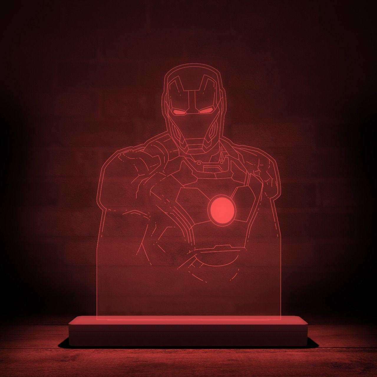 Luminária/Abajur Homem de Ferro (Iron Man): Marvel - EV