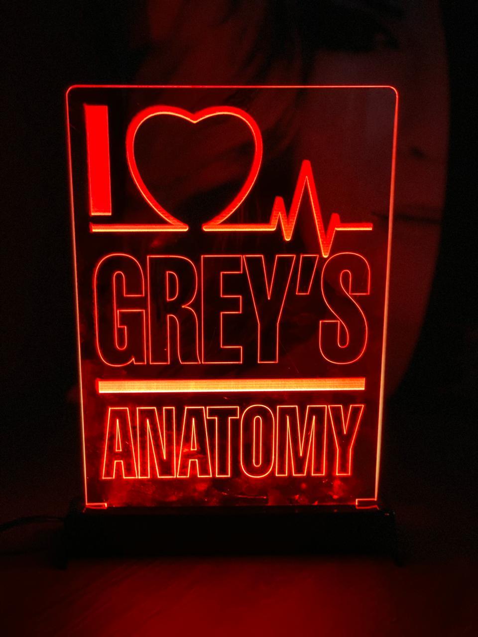 Luminária/Abajur I Love Gray´s Anatomy - EV