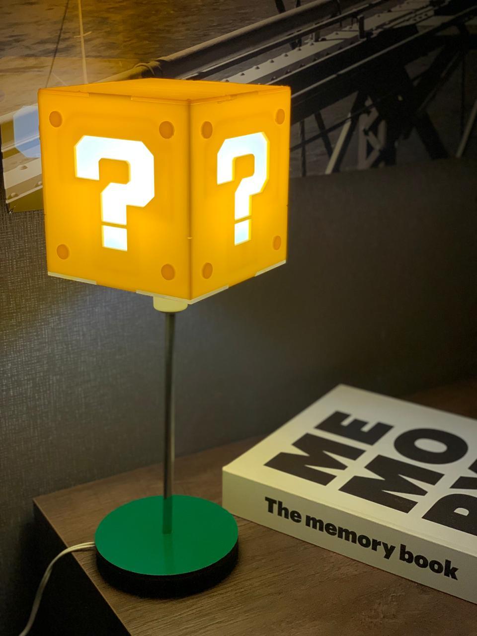 Luminária Abajur Interrogação Super Mario Bros - Lançamento Exclusivo