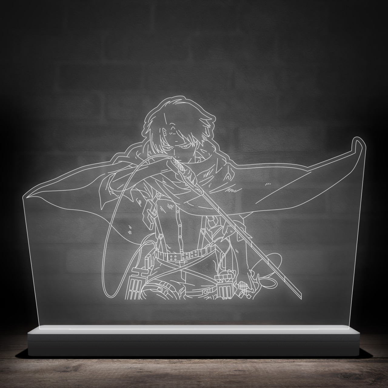 Luminária/Abajur Levi Ackerman Posição de Ataque: Attack On Titan Shingeki no Kyojin - Anime Mangá - EV