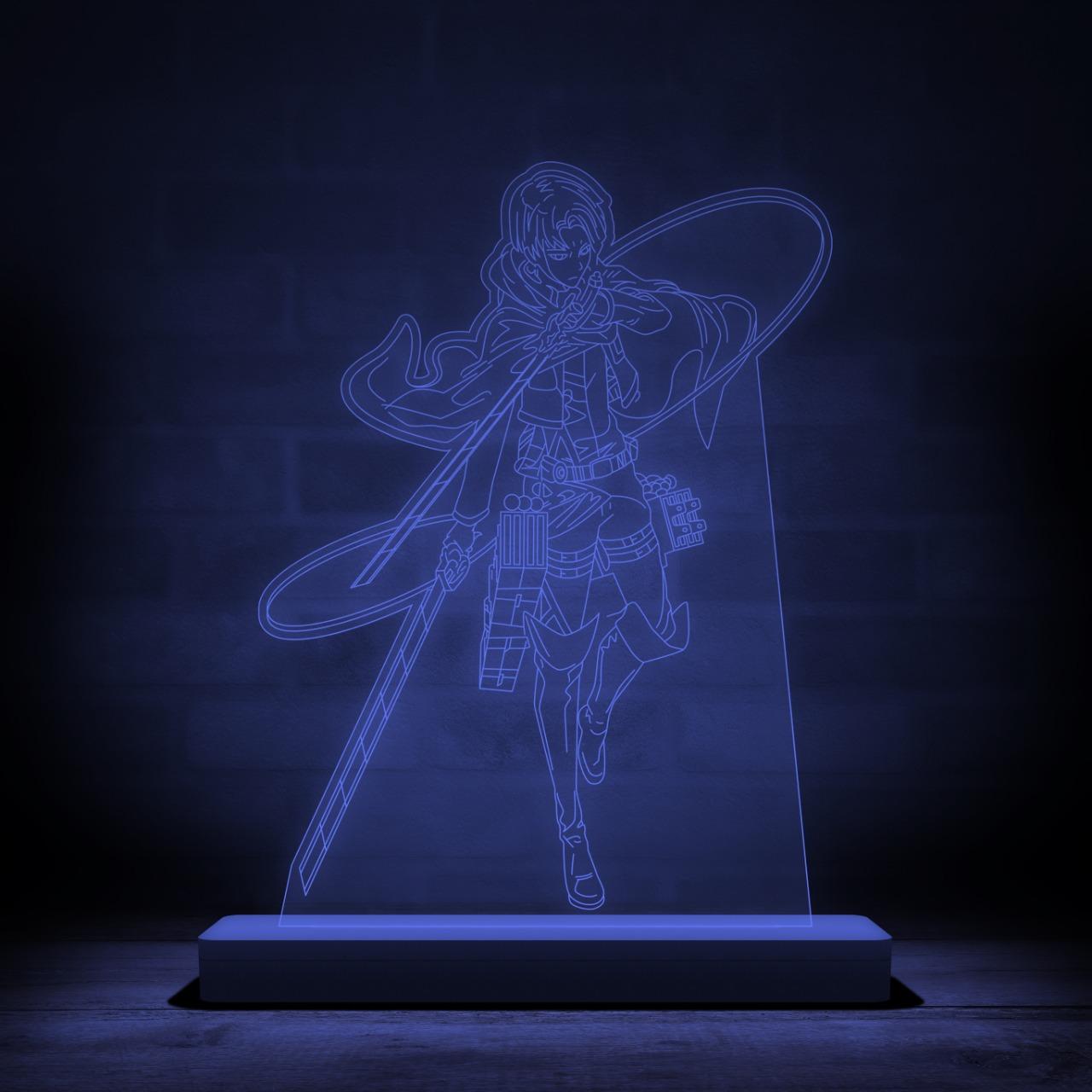 Luminária/Abajur Levi Ackerman Posição de Batalha: Attack On Titan Shingeki no Kyojin - Anime Mangá - EV