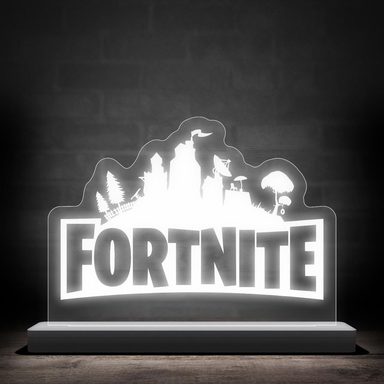 """Luminária/Abajur """"Logo Fortnite'' - EV"""