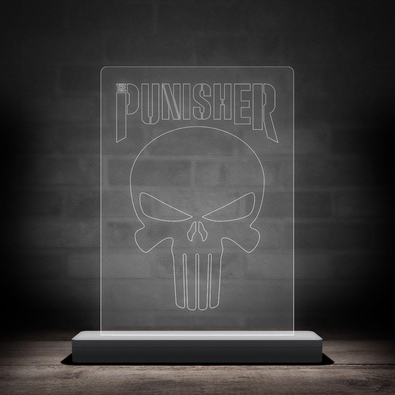 Luminária/Abajur Logo Justiceiro (Punisher) - EV
