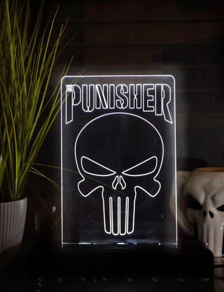 Luminária/Abajur Logo Justiceiro Punisher Marvel Comics