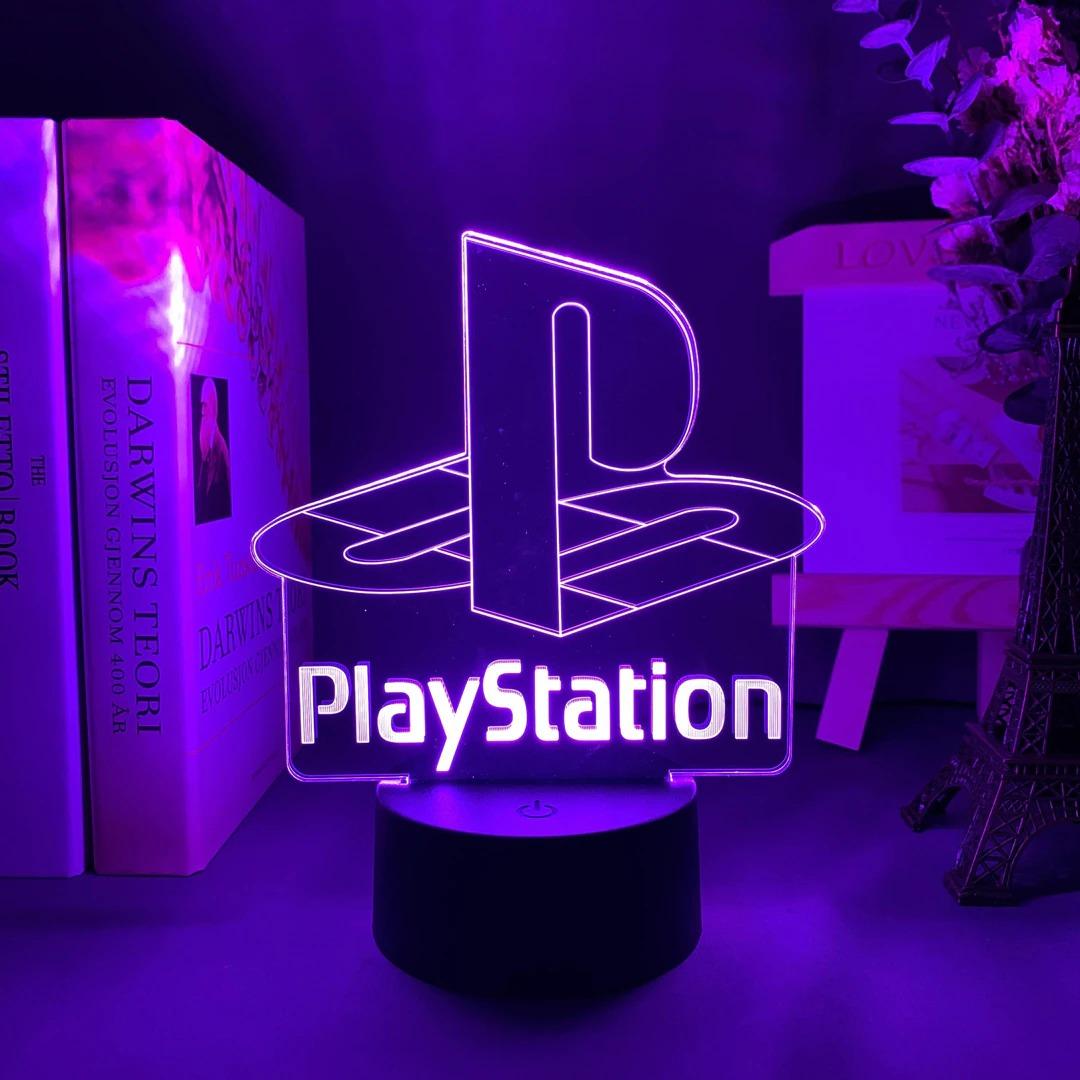Luminária/Abajur Logo Playstation Classic Clássico  16 Cores com Controle - EVALI