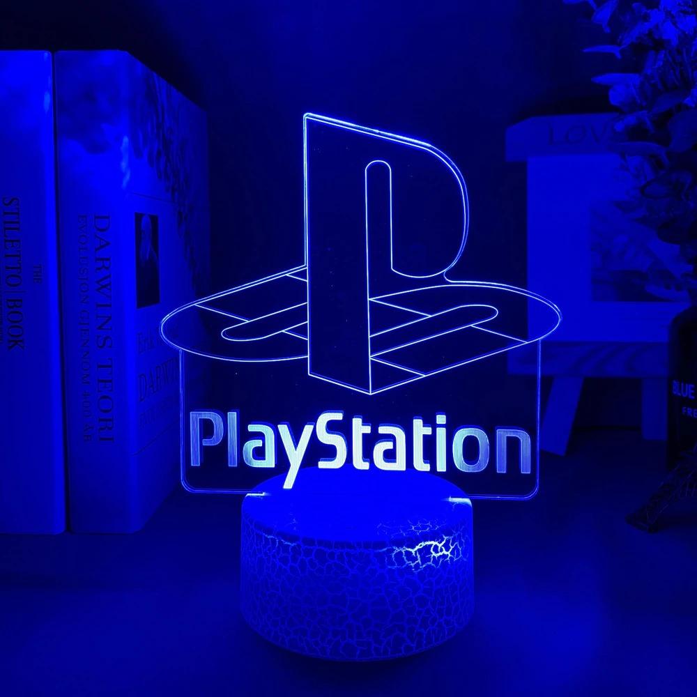 Luminária/Abajur Logo Playstation Classic Clássico Base Lava 16 Cores com Controle - EVALI