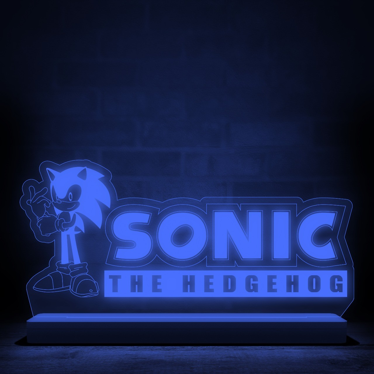 "Luminária/Abajur ""Logo Sonic The Hedgehog''"