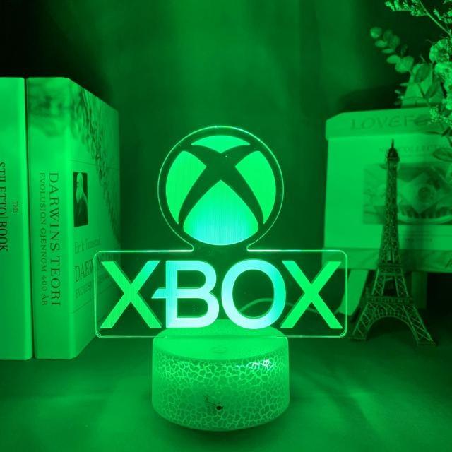 Luminária/Abajur Logo Xbox Microsoft Base Lava 16 Cores com Controle - EVALI - Games Jogos