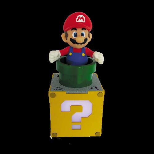 """Luminária/Abajur """"Mario e Cubo de Interrogação"""": Super Mario Bros"""