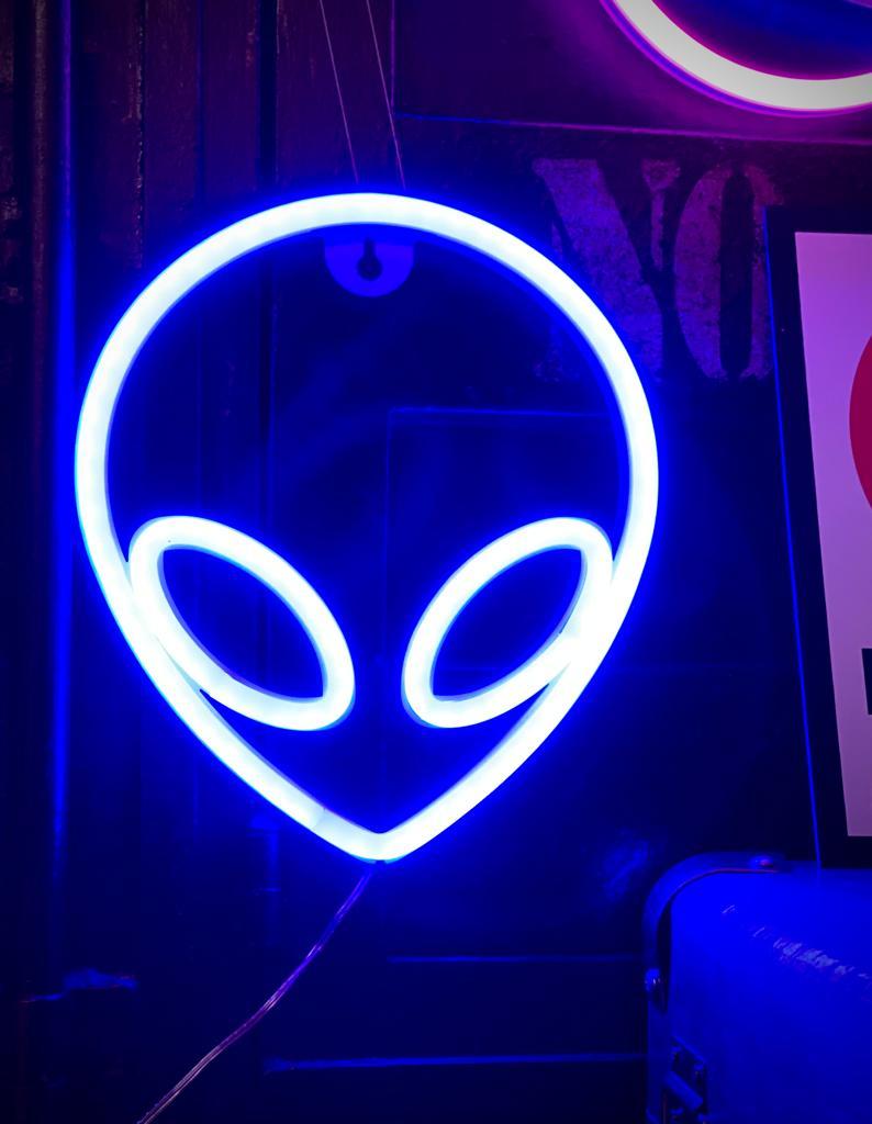 Luminária Abajur Neon Led Alienígena Ufo Alien 22 Cm Azul - EVALI