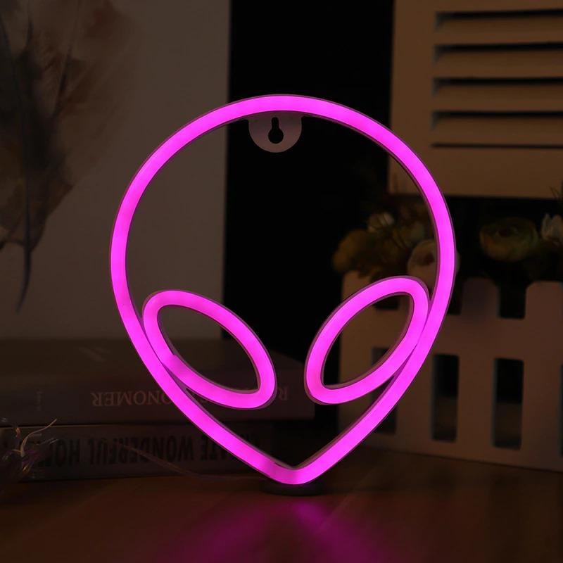 Luminária Abajur Neon Led Alienígena Ufo Alien 22 Cm Rosa - EVALI