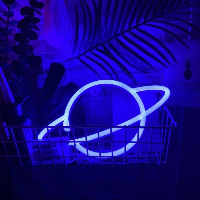 Luminária Abajur Neon Led Planeta Saturno 30 Cm Azul - EVALI
