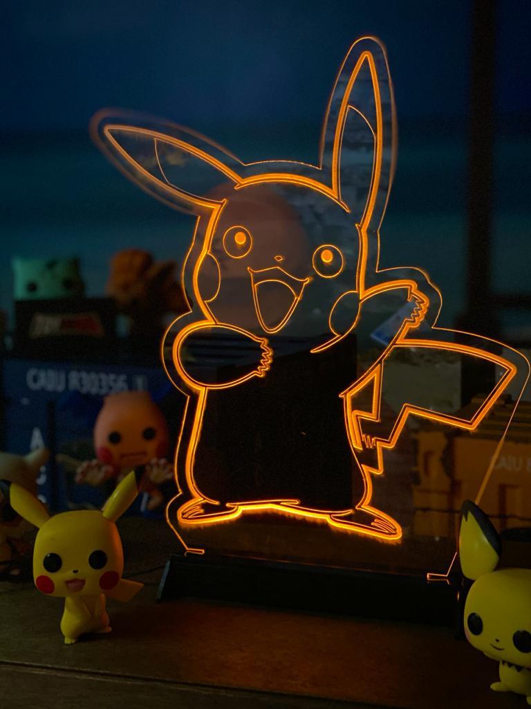 Luminária/Abajur: Pikachu: Pokémon - EV - Anime Mangá