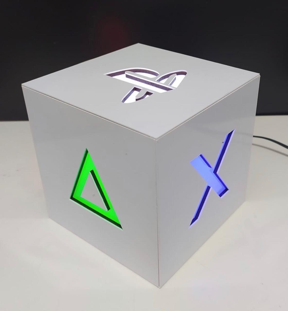 Luminária/Abajur Cubo Caixa Playstation 5 PS5 Branco: Games (De Mesa)