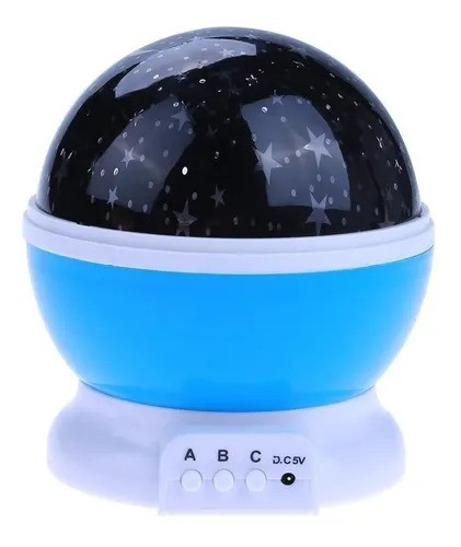 Luminária/Abajur Rotativa Globo Projetor Estrelas Galáxia Azul