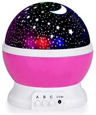 Luminária/Abajur Rotativa Globo Projetor Estrelas Galáxia Rosa