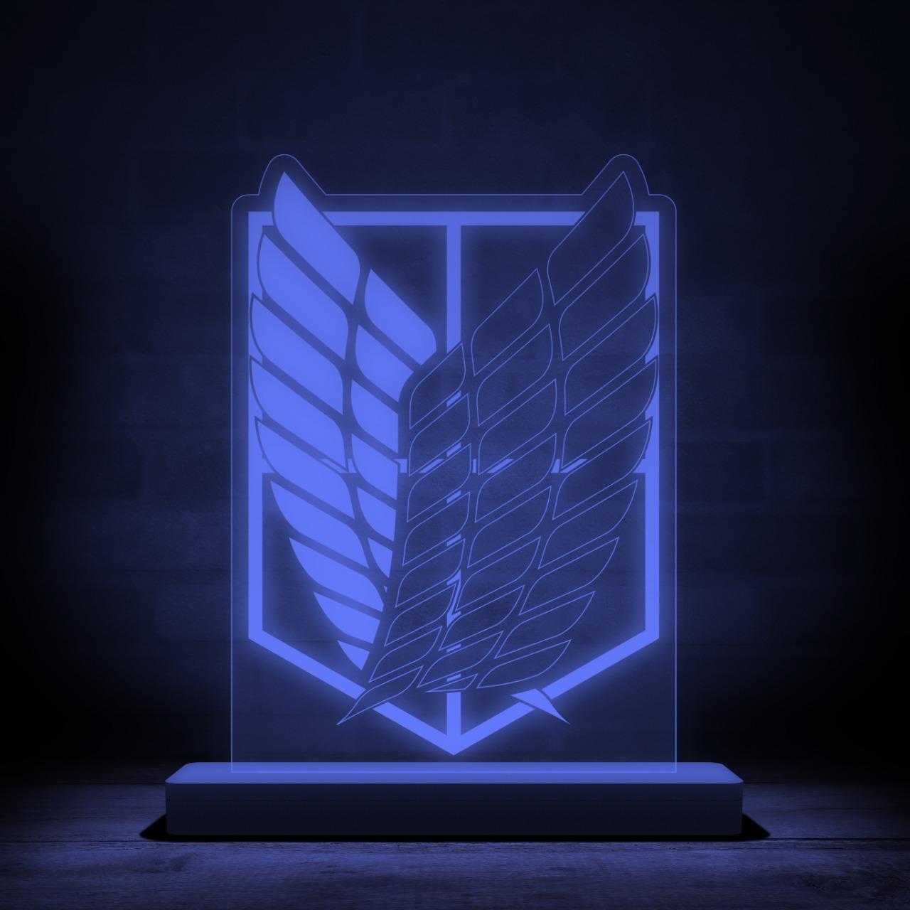 Luminária/Abajur Símbolo Tropa De Exploração: Attack On Titan Shingeki no Kyojin - Anime Mangá - EV