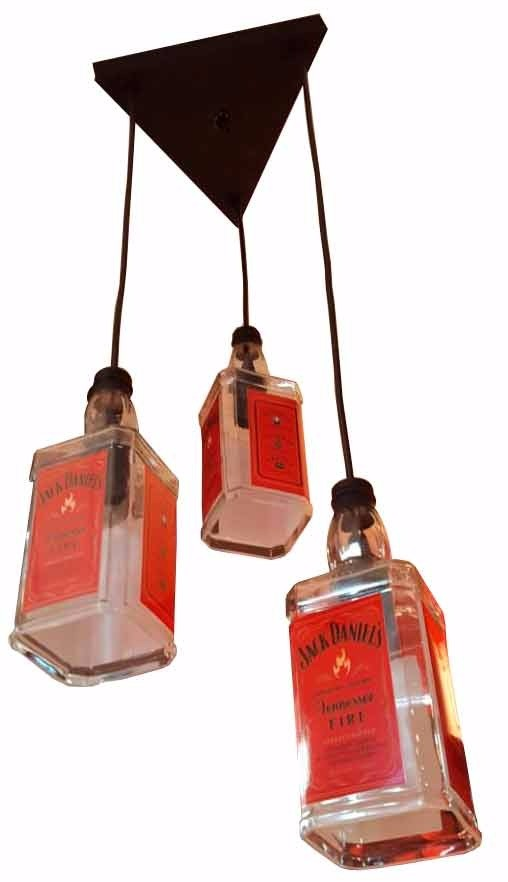 Luminária de 3 Garrafa de Jack Daniels Vermelho - AZ Design