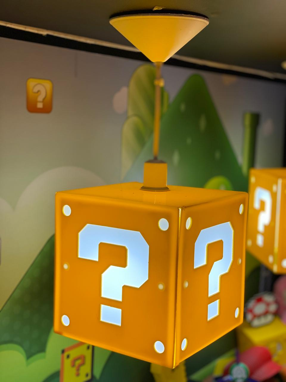 Luminária de Teto Cubo Interrogação: Super Mario Bros Pequeno - EV