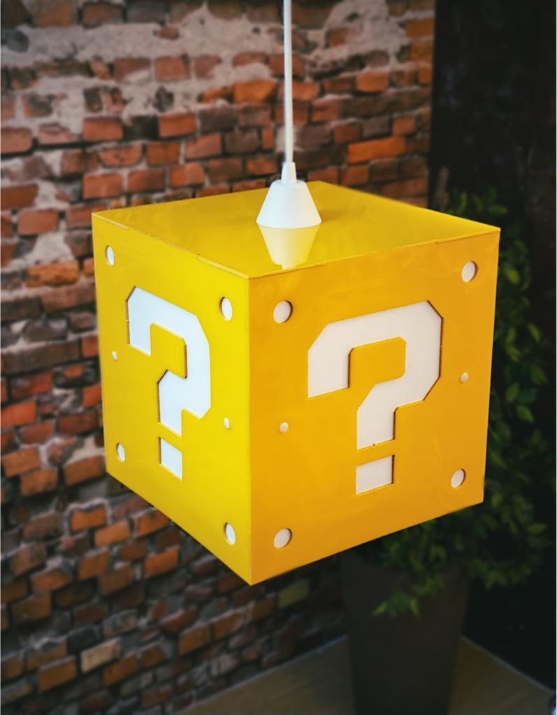 Luminária de Teto Cubo Interrogação: Super Mario Bros Grande - EV