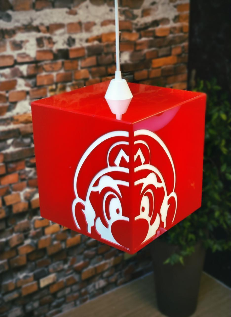Luminária de Teto Mario Vermelho: Super Mario Bros Grande - EV