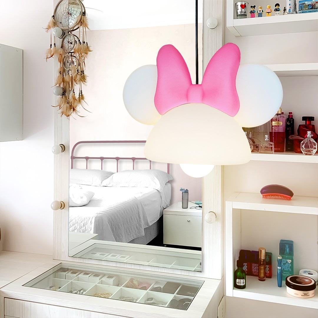 Luminária de Teto Pendente Orelhas Com Laço Minnie Mouse - Disney Branco  - EV