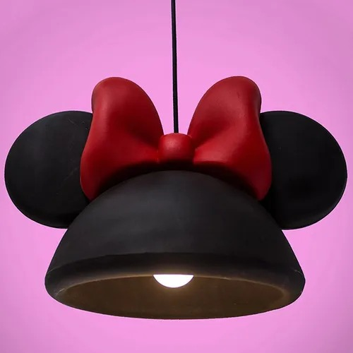 Luminária de Teto Pendente Orelhas Com Laço Minnie Mouse - Disney Preto  - EV