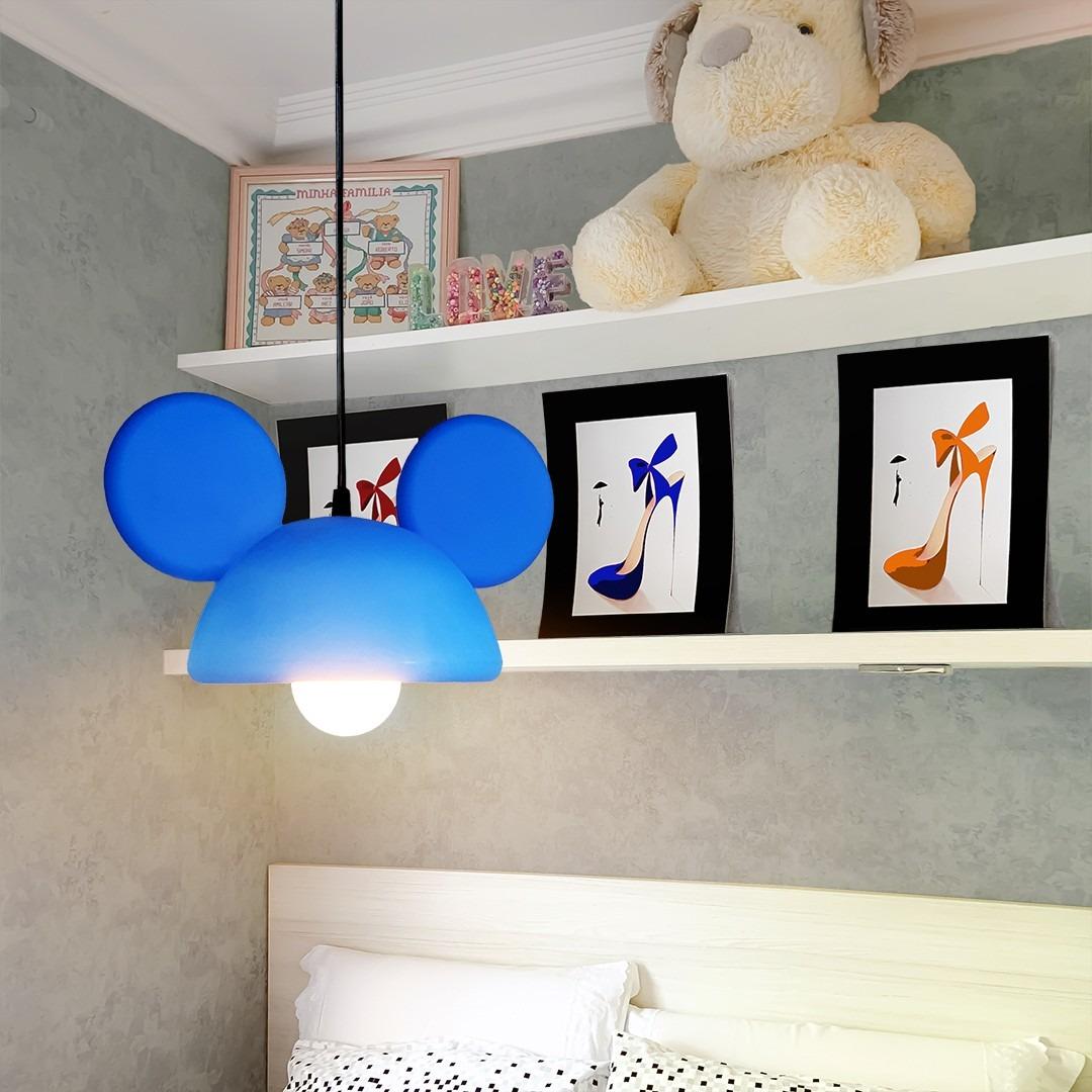 Luminária de Teto Pendente Orelhas Mickey Mouse - Disney Azul  - EV